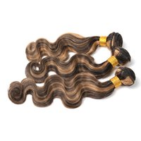 Wholesale Wavy Remy Hair Extensions Mixed - 8A Brazilian Piano Color human hair extensions body wave 3 bundles Two 2 Tone Mix Color 1b# 27# remy wavy ombre hair weave