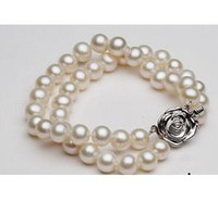 Wholesale South Sea Pearls White Ring - Charming double strands 9-10mm round south sea white pearl bracelet 7.5-8 inch S925 silver