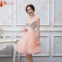 Wholesale Real Image Beaded Mini Dress - Free Shipping 2017 Short Coral Prom Dresses Beaded Applique Soft Tulle High Quality Evening Party Dresses Real Photo