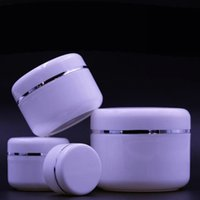Wholesale Pp Liner - 20 50 100 250ML Empty White PP Cream Jar Silver Edge With liner Refillable Plastic Cosmetic Makeup Cream Jars Sample Container Bottle Pot