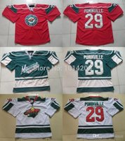 ingrosso mn jersey-2016 New, Minnesota Wild # 29 Jason Pominville Jersey Red home / White road / Green Maglia alternativa MN Wild Hockey Jerseys