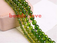 Wholesale Gold Bracelet Spacer - Natural Stone Green Peridot Round Loose Spacer Beads 6 8 10mm Pick Size For Jewelry Making Diy Bracelet Free Shipping-F00276 jewelry making
