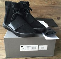 Wholesale Day Running Lights - 750 Boost Light Grey Glow In The Dark Kanye West Leather Boots Men's Sport Running Shoes(With receipt laces dust bags boxes)