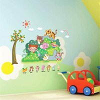 Wholesale Tree Flowers Wall Stickers - 100pcs ZY607 beautiful green tree tiger boy girl flower zoo animals Kids room decor bedroom wall sticker AY607. home decals removable