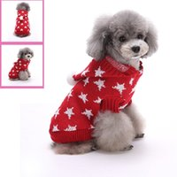 Wholesale Pet Clothes Patterns - Pet Fashion Series MYD08 09 Dog Clothes Sweater autumn and winter star pattern hooded 2 colors red and blue