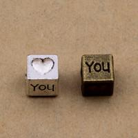 "ingrosso perline europee pandora porcellana-200 pezzi perline da 7x7mm perline ""I love you"" perline argento antico e bronzo per opiton"