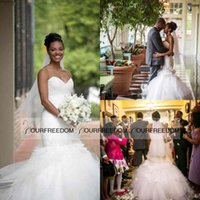 Wholesale White Feathers For Sale - African New Mermaid Wedding Dresses with Ruffled Fit and Flare Skirt for Chapel Church Brides Wear Sale Cheap feather Floral Bridal Gowns