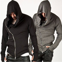 Wholesale Solid Color Hooded Cardigans - Assassins Creed Men's Hooded Hoody Autumn Sweatshirt Male Assassin's Zipper Streetwear Black Grey Hoodies Men Sportsman Suits Tracksuit