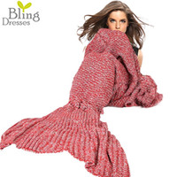 Wholesale Knee Blankets - Wholesale-Throughout The Year Fashion Mermaid Tail Blanket Nap Casual Sofa Yarn Knitted Blanket Women's Wrap Sleeping Bag