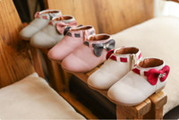 Wholesale Boots Size 21 - Children Baby Girls Boots Autumn Fashion PU Leather shoes Kids rhinestone bows princess Bootses Girl Shoes Birthday Gift Size 21-30 T0025