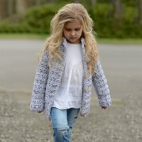 Wholesale Crochet Girl Pullover - Baby Girls Knit Crochet Sweaters Kids Girls Singlet Breasted Pullover Babies Autumn Winter Cardigan 2017 Baby Clothes