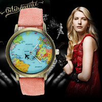 Wholesale Glass Airplane - Explosion world map airplane needle Watches Women Men Denim canvas with leather quartz watch Rome