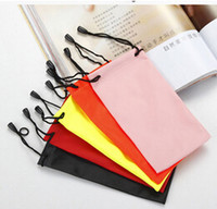 Wholesale Soft Eyeglass Pouches - 2016 Free shipping waterproof leather plastic sunglasses pouch soft eyeglasses bag glasses case many colors mixed 18*9cm