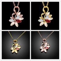 Wholesale Swan Necklace Jewelry - Christmas gift hot sale 24k 18k rose gold yellow gold swan Pendant Necklaces jewelry GN913 fashion gemstone crystal necklace