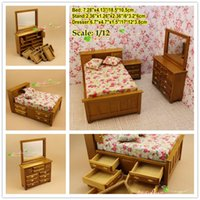 Wholesale Wooden Miniatures Wholesale - 1 12 scale dollhouse miniature captain's bedroom set  bed night stand dresser w mirror