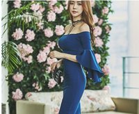 Wholesale South Korean Fashion Dresses - 2016 South Korean ladies autumn dress blue one-word collar strapless hip hip sexy fashion trumpet sleeve long dress