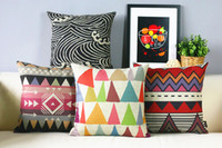Wholesale Aztec Pillows - Free shipping Bohemian Aztec geometric triangles zigzags chevrons diamonds water spray pattern cushion cover decorative throw pillow Case