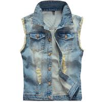 Wholesale Mens Cowboy Jackets - Fall-Big Size Ripped Vintage Cowboy Waistcoat Washed Male Jean Vest Mens Sleeveless Denim Jacket Plus Size 5XL 6XL Light Blue