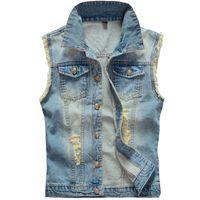 coletes jeans mens venda por atacado-Queda-tamanho grande rasgado colete de cowboy do vintage lavado masculino jean colete dos homens sem mangas jaqueta jeans plus size 5xl 6xl azul claro