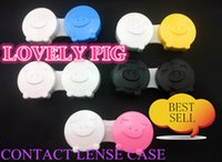 Wholesale new Little Pig design contact lens case Eyewear Accessories lovely pig contact lense case mix color pc double joint contact lenses