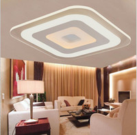 luces cuadradas de techo de cocina al por mayor-Diseño creativo ultrafino llevó la luz de techo cuadrada lámpara de acrílico luces de interior de doble color para sala de estar cocina decorativa lámparas modernas