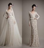 Wholesale Ersa Atelier Wedding Dresses - Ersa Atelier Romantic Full Lace Wedding Dresses 2016 New A Line with Beads V Neck Long Sleeve Over Skirt Detachable Train Bridal Gowns