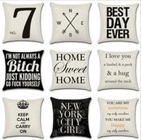 sofás brancos pretos venda por atacado-Carta Decorativa Fronha Geométrica Dot Wave Cross Capa de Almofada para o Assento Do Sofá Xmas Home Decor Preto Branco YW67