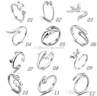 Wholesale White Gold Adjustable Ring - 925 Sterling Silver Rings Multi Charms Dolphins Dragonfly Wings Of The Angel Love Fox Butterfly Opening Adjustable Ring For Women