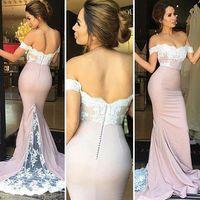 Wholesale Off Sholder - 2017 Mermaid Long Prom Dresses Long Train Elegant Off The Sholder With White Lace Appliques Bridesmaid Dresses Cheap