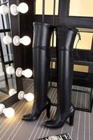 botas altas de tacón alto de cuero al por mayor-¡CALIENTE! U469 34 BOTAS DE CUERO ORIGINAL HIGHLAND DE PIEL ORIGINAL GRIS NEGRO