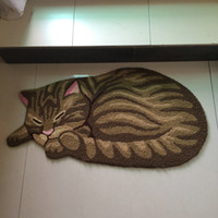 Wholesale Hooked Rugs - Fashion Hand Hooked Vivid Cat Shaped Mat Living Door Mats Carpet, Novelty Embroidered Porch Doormat Floor Karpet Kitchen Rugs Gift