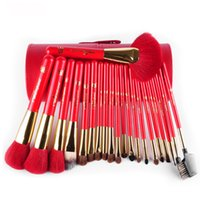 Wholesale Round Case Makeup Brush Set - 2016New Red Wood Handle Animal Hair 21Pcs Makeup Brushes Set With Round Pen Holder Cosmetic Tool Pu Leather Cup Container Case