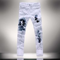2016 Bianco 3D Stampato Uomo Jeans Homme unico Running Man motociclista cotone di stampa Large Size 40 38 Skinny jeans uomo Denim Pants