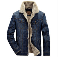 Wholesale Mens Cowboy Jackets - Wholesale- M-4XL men jacket and coats brand clothing denim jacket Fashion mens jeans jacket thick warm winter outwear male cowboy
