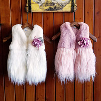 Wholesale Faux Fur Brooches - Girls Fur Waistcoat Vest Kids Clothes INS Autumn Winter Baby Girls Vest Warm Fashion Cardigan Coat Outerwear With Flower Brooch