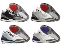 Wholesale Gold Pvc Leather Fabric - High Quality Retro 3 Mens Basketball Shoes 3s Black White Cement GS Retro 3s Infrared Wolf Grey Men Sneakers Shoes With Box