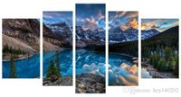 Wholesale Stretched Framed Art - YIJIAHE FJ9 Canvas Painting Art 5 Piece Landscape Wall Art Pictures Print on Canvas Stretched and Framed Ready to Hang for Wall Decor