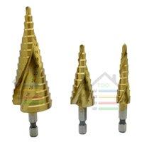 Wholesale Step Drill Spiral - 3pcs Lot Hex HSS Metric Spiral Flute Step Drill Bit Set Steel Titanium Coated Wood Metal Drilling Hole Saw 4-12mm 4-20mm 4-32mm order<$18no