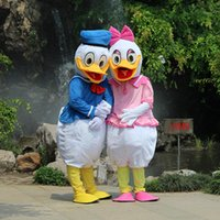 Wholesale Duck Cartoon Costume - Best Quality Donald Duck Daisy Duck Cartoon Mascot Costume with lower price for party Free Shipping