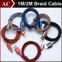 Wholesale Copper Line - 1m 3ft 2m 6ft Fabric Nylon Braid Strong Metal Copper Micro USB Sync Data Cable Charger Cord Line Adapter For Samsung HTC LG Smart Phones