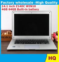 Wholesale Atom Computers - 14.1 inch ultrabook slim laptop computer Itel Atom X5-Z8300 Z140C Quad-core laptop 4GB 64GB WIFI Windows 10 laptop notebook