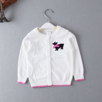 Wholesale Girls Bow Design Coat - Hot Brand Design Baby Girls Knitted Sweater Trench Girls Spring Autumn Long Sleeve Cardigan Sweater Baby Girls Coat with bow
