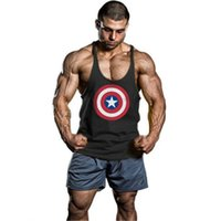 Wholesale Tshirt Vest Men - 2016 New Summer Captain America Sports Singlets Mens Tank Top TShirt Stringer Bodybuilding Golds Gym Cotton Sports Vest
