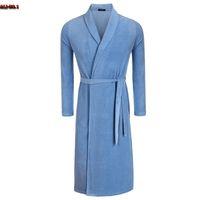 Wholesale Type Sleepwear - Wholesale-Fashion Men's Robe Kimono Collar Adjustable Waistband Loose Type Long Sleepwear Solid Plus Size Male Bathrobe Peignoir Homme
