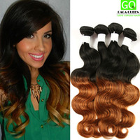 Wholesale two tone wavy weave online - Cheap Ombre Hair g Bundles Peruvian Body Wave Wet and Wavy Ombre Hair Two Tone Peruvian Human Hair Weave Ombre Human Hair Extensions