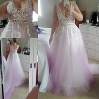 Wholesale real fairy photos - Graceful Deep V Neck Lace Applique Prom Dresses 2017 Lilac Tulle Covered Sweep Train Evening Gowns Fairy 100% Buyer Show Real Photos Gowns