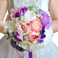 ingrosso bouquet di rose di nastro di raso-Alta qualità Pink Purple Beach Vintage Wedding Decoration Artificiale Damigella d'onore Fiore di seta Rose WF050 Top Wedding Bouquet da sposa