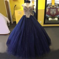 Wholesale Gold Sweet 16 - Gorgeous Navy Blue Ball Gown Quinceanera Dresses 2017 Sweetheart Gold Lace Appliqued Pearls Crystals Tulle Sweet 16 Party Prom Evening Gowns