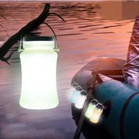 lamba işlevi toptan satış-Evrensel Güneş Açık Çok Şişe 5 1 Silikon Kamp Lambası Katlanabilir Fonksiyonu Solar Şarj Mobil Şarj El Isıtıcı CCA7271 30 adet
