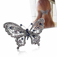 Wholesale Butterfly Crystal Hair Clip - Fashion Crystal Diamond Butterfly Shaped Hair Clip Girls Luxurious Hair Accessories